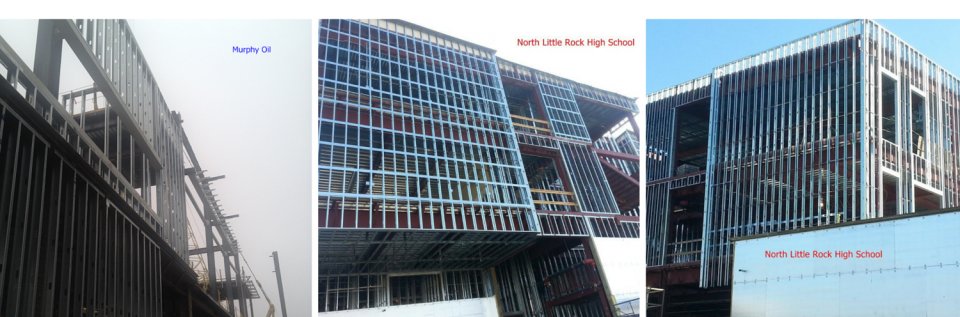 Some of the buildings we have worked on include Murphy Oil and North Little Rock High School.